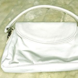 New York & Company Faux White Leather Purse
